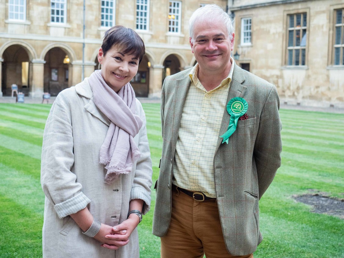 Jeremy Caddick and Caroline Lucas, in Cambridge, standing outdoors facing the camera